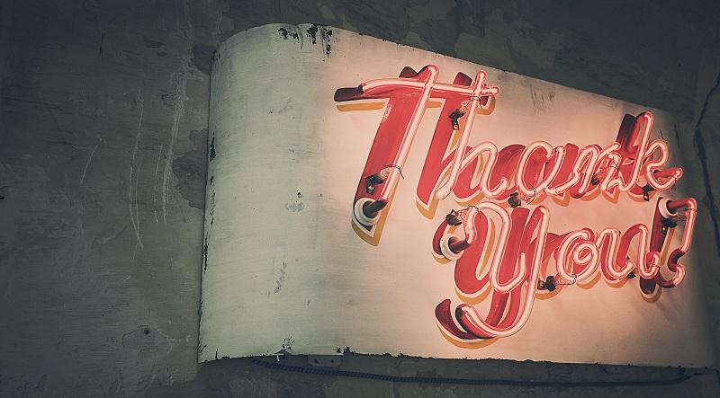 Leuchtendes Schild mit Thank You Aufschrift