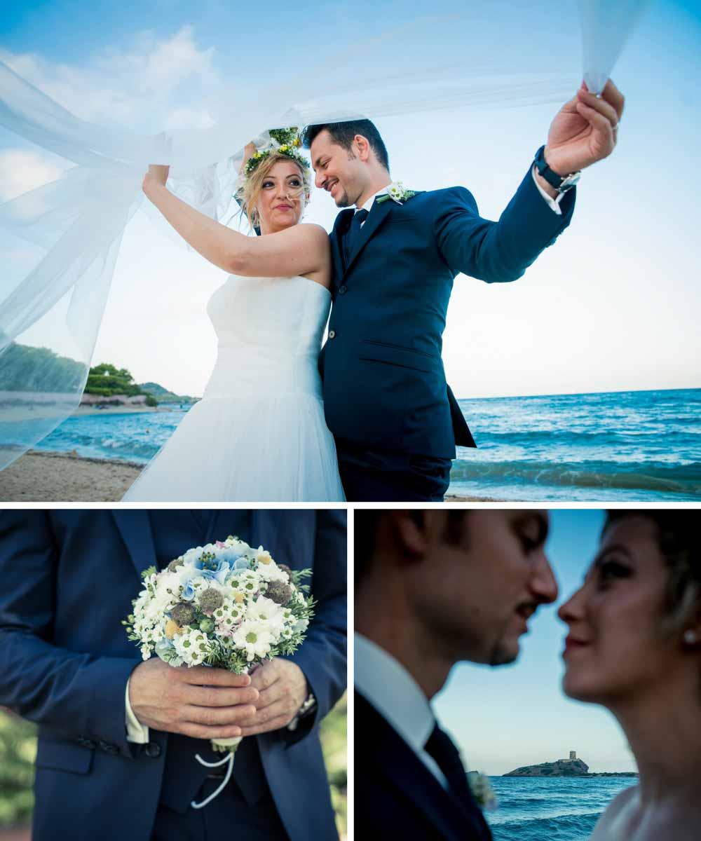 Bräutigam im Hochzeitsanzug und Braut am Strand