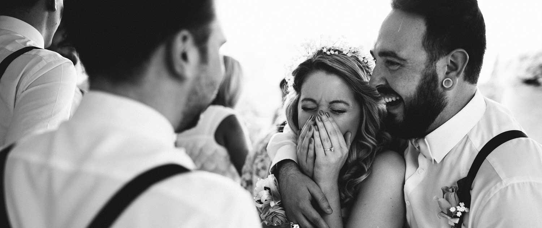 Braut und Braeutigam am Hochzeitstag